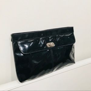 Vintage 80s Patent Leather Clutch Bag w/Spin Clasp